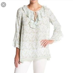 NWT Max Studio Ruffle Front Poet Blouse